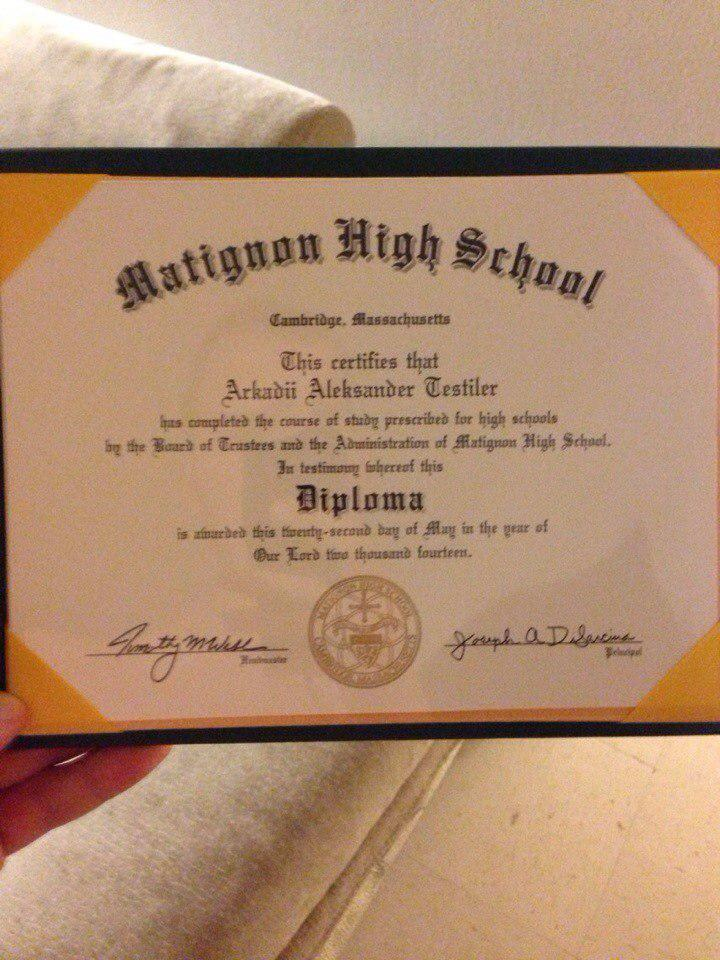 a high school diploma for a A high school diploma is a document issued by an educational institution verifying that a student has completed the educational course of study required for high school.